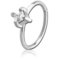 Сережка кольцо для крыла носа с квадратным кристаллом
