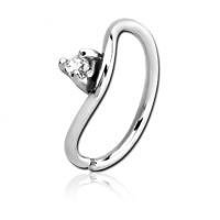 Сережка кольцо для крыла носа с кристаллом
