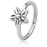 Сережка кольцо для носа с цветком