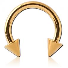 Сережка пирсинг подкова золотистая с шипами 14G  1,6мм