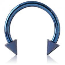 Сережка пирсинг подкова синяя с шипами 14G  1,6мм