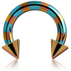 Сережка циркуляр подкова титановая полосатая 1,2мм с шипами для пирсинга