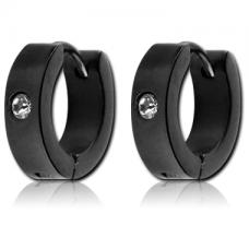 Кольцо черное с камнем