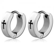 Кольцо серебристое узкое с черным крестиком