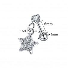 Микроштанга серебристая с подвеской звездочка с камнями
