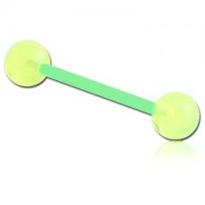 Сережка пирсинг штанга для языка из Биофлекса с акриловыми шариками салатовая
